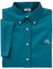 Men's Aqua Blue Short Sleeve Soft Touch Poplin