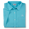 Ladies' Turquoise Short Sleeve Soft Touch Poplin