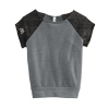 Ladies Gray/Black Alternative Short Sleeve Pullover Sweatshirt.