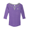 L. Purple/Grey Split V-Neck 3/4 Sleeve Raglan
