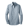 Ladies' Blue/White Fine Stripe Stretch Poplin Shirt