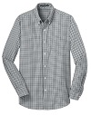 Men's Black/Gray L/S Gingham Shirt