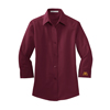 Ladies' 3/4 Sleeve Dress Shirt Burgundy