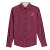Ladies' Long Burgundy Sleeve Snowflake Dress Shirt