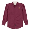 Men's Long Burgundy Sleeve Snowflake Dress Shirt