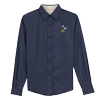 Ladies' Long Sleeve Navy Snowflake Dress Shirt