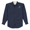 Men's Long Sleeve Navy Snowflake Dress Shirt