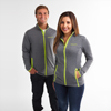 Men's Charcoal Grey/ Lime  Soft Touch Stretch Full-Zip Jacket