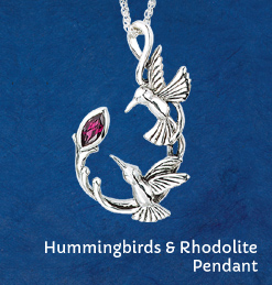 Hummingbirds & Rhodolite Pendant