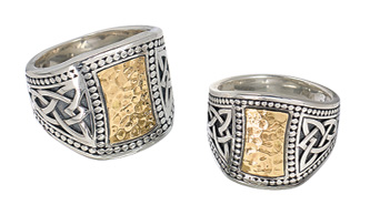 Hammered-Gold Inset Rings with Celtic Knotwork
