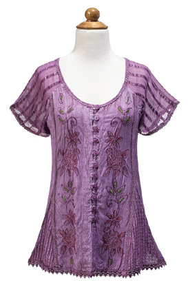 Purple Embroidered Top