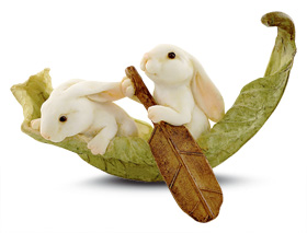 Two Bunnies on a Leaf