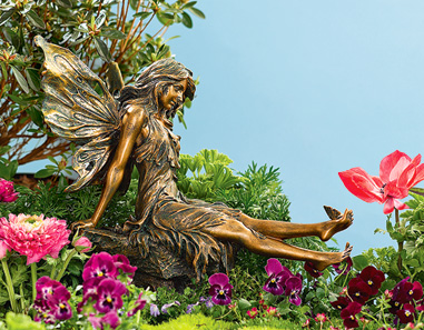 Charmant Large Garden Fairy With Butterfly Basking In The Sunlight, A Graceful Fairy  Slowly Stretches   And A Butterfly Joins Her! Holding Still, She Admires  The ...