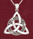 Encircled Sterling Silver Celtic Trinity Knot Jewelry - Encircled Trinity Knot Pendant