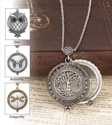 The tree of life magnifier pendant magnifier pendant observe the world up close wander on a nature walk getting a close up look at plants and insects detailed openwork pendant is backed by aloadofball Choice Image