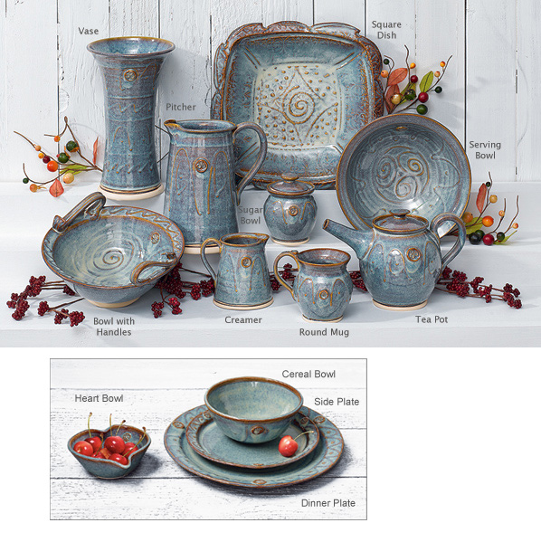The colors of the Irish landscape - blue mist over green hills and ocean - inspires this pottery collection by Irish artisan Ray Powers.  sc 1 st  Gaelsong & Entertaining - Castle Arch Pottery