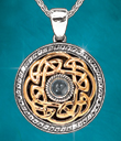 Two-Tone Eternal Knot Pendant with White Topaz