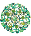 Green Crystals Brooch