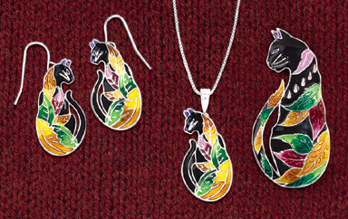 Cat & Leaves Jewelry