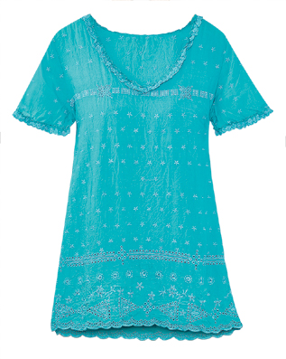 Tonal Embroidered Flowers Tunic