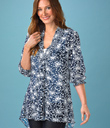 White & Navy Organza Tunic