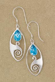Blue Topaz Spiral Wave Earrings