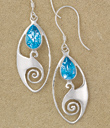 Blue Topaz Spiral Wave Earrings