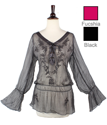 Embroidered Chiffon Sheer Tunic