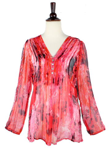 Sheer Marble Print Blouse