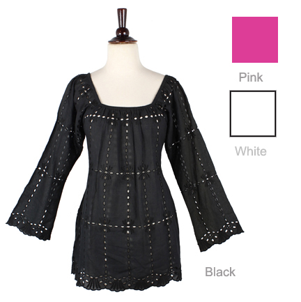 Embroidered Eyelet Top