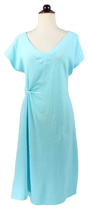 V-Neck Dress with Gather