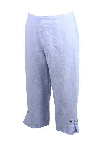 Linen Crop Pant with Button