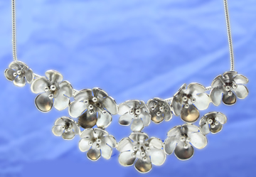 Silver Flowers Bib Necklace