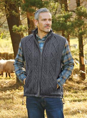 Men's Aran Zip-up Vest