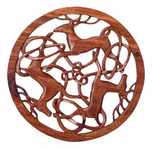 Three-Deer Carved Wooden Plaque