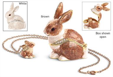 Bunny Keepsake Box with Tiny Pendant