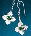 Flower and Green Quartz Earrings