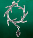Branch Wreath Pendant with Pinecone Charm