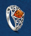 Filigree Amber Ring