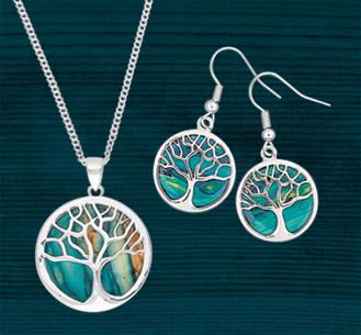 Scottish Heathergems Tree of Life Pendant & Earrings