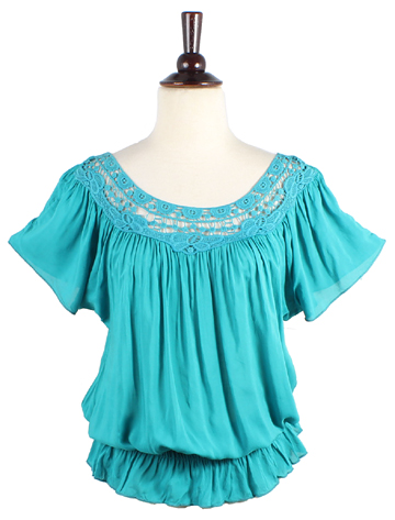Smocked Waist Short Sleeve Top