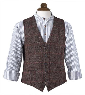 Tweed Vest & Flannel Grandfather's Shirt