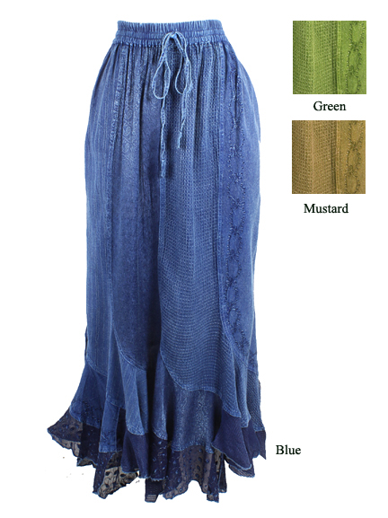 Embroidered Ruffled Skirt