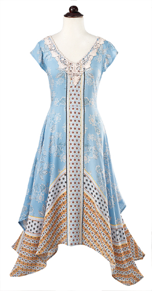 Sky Blue Hanky Hem Dress