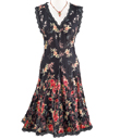 Lace-Trimmed Black Floral Dress