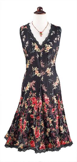 Lace-Trimmed Black Floral Dress