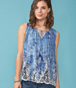 Lacy Watercolor-Blue Top