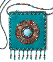 Velvet Amulet Bag with Feather Trim