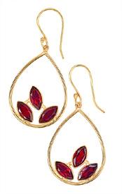 Three Garnet Flame Earrings