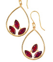 Three Garnet Flame Earrings